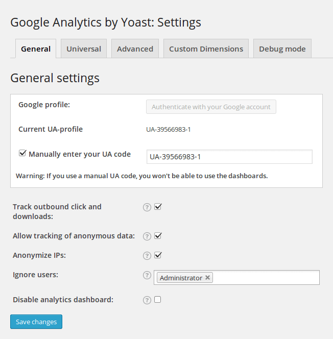 Google Analytics WordPress Plugin Einstellungen