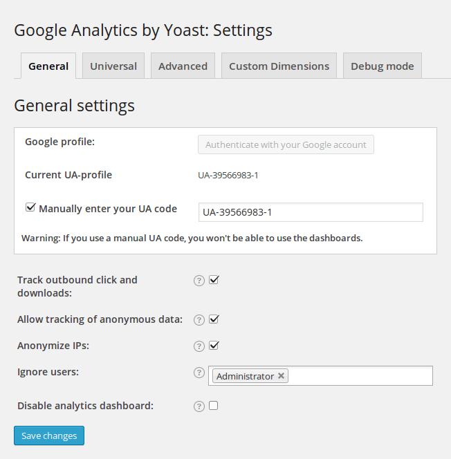 Google Analytics WordPress Plugin Einstellungen