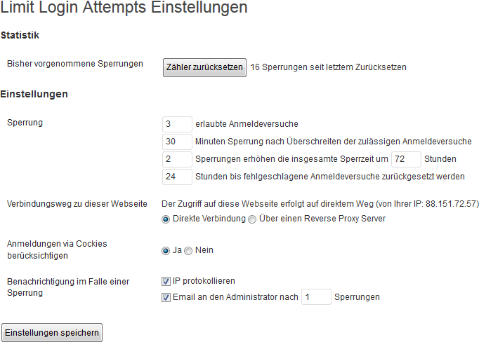 Meine Einstellungen des WordPress-Plugins Limit Login Attempts