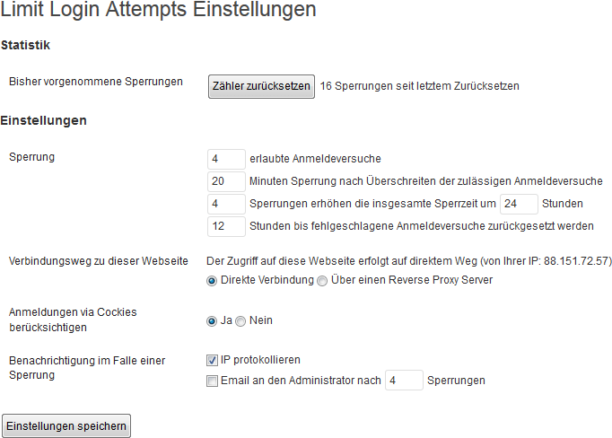 Standardeinstellungen des WordPress-Plugins Limit Login Attempts